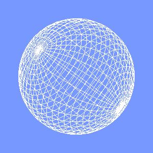 groovyとJOGLで描画したワイヤーフレームの球