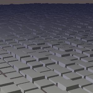 groovyとJOGLで複数の直方体を凸凹に配置した画像