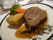 filet of beef with stacked scalloped potatoes on vantage river boat, germany