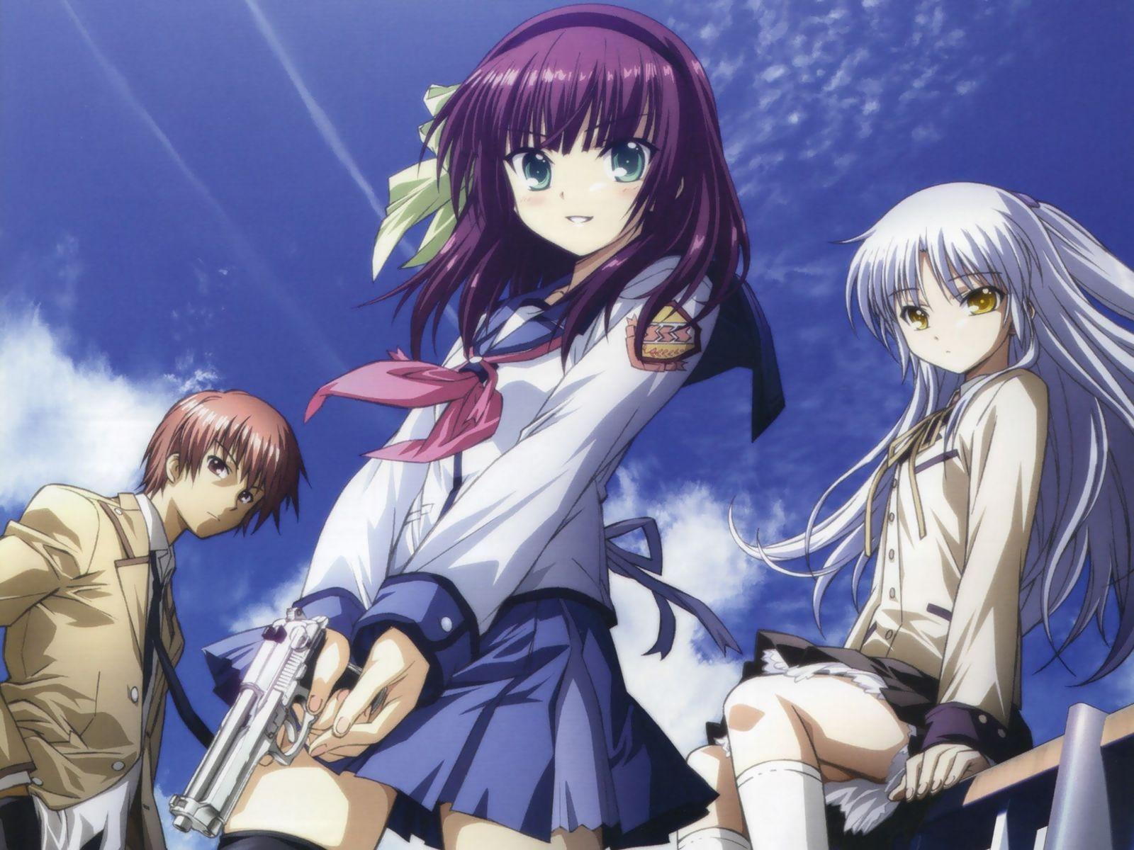 The main characters (from left to right) Otonashi, Yuri, and Angel (Kanade).
