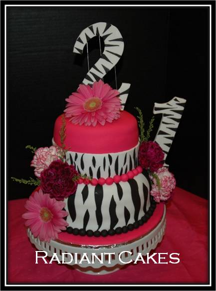 Pink And White Zebra Cake. Zebra Print and Hot Pink Cake: