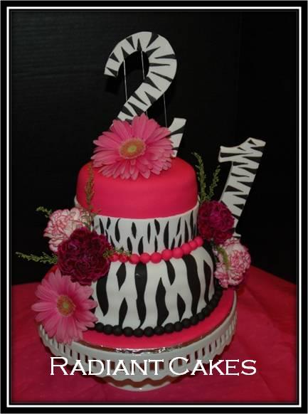 Pink And White Zebra Cake. Zebra Print and Hot Pink Cake: