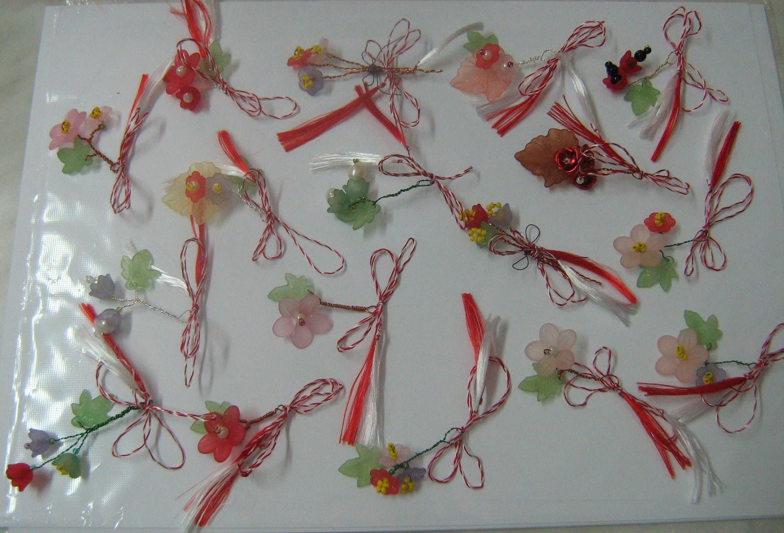 Martisoare vesele confectionate din flori de acril ,perle,margele de ...