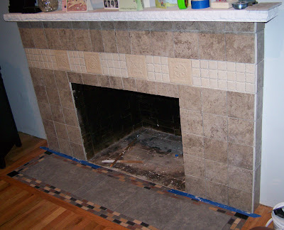 fireplace tiling complete