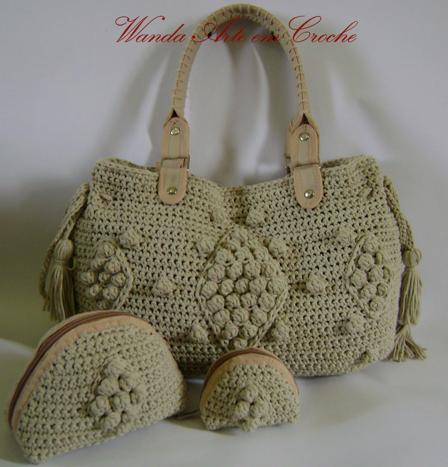 Bolsa De Mão Em Crochet : Wanda arte em croche bolsa jolie pronta entrega