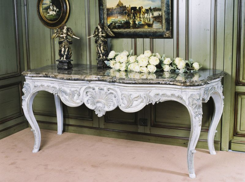 Large Console Table Furniture In Antiquing White Regency Style