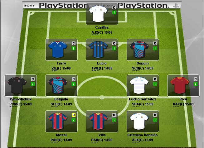 Mi equipo para la Fantasy Football de la UEFA CHAMPIONS LEAGUE 2010
