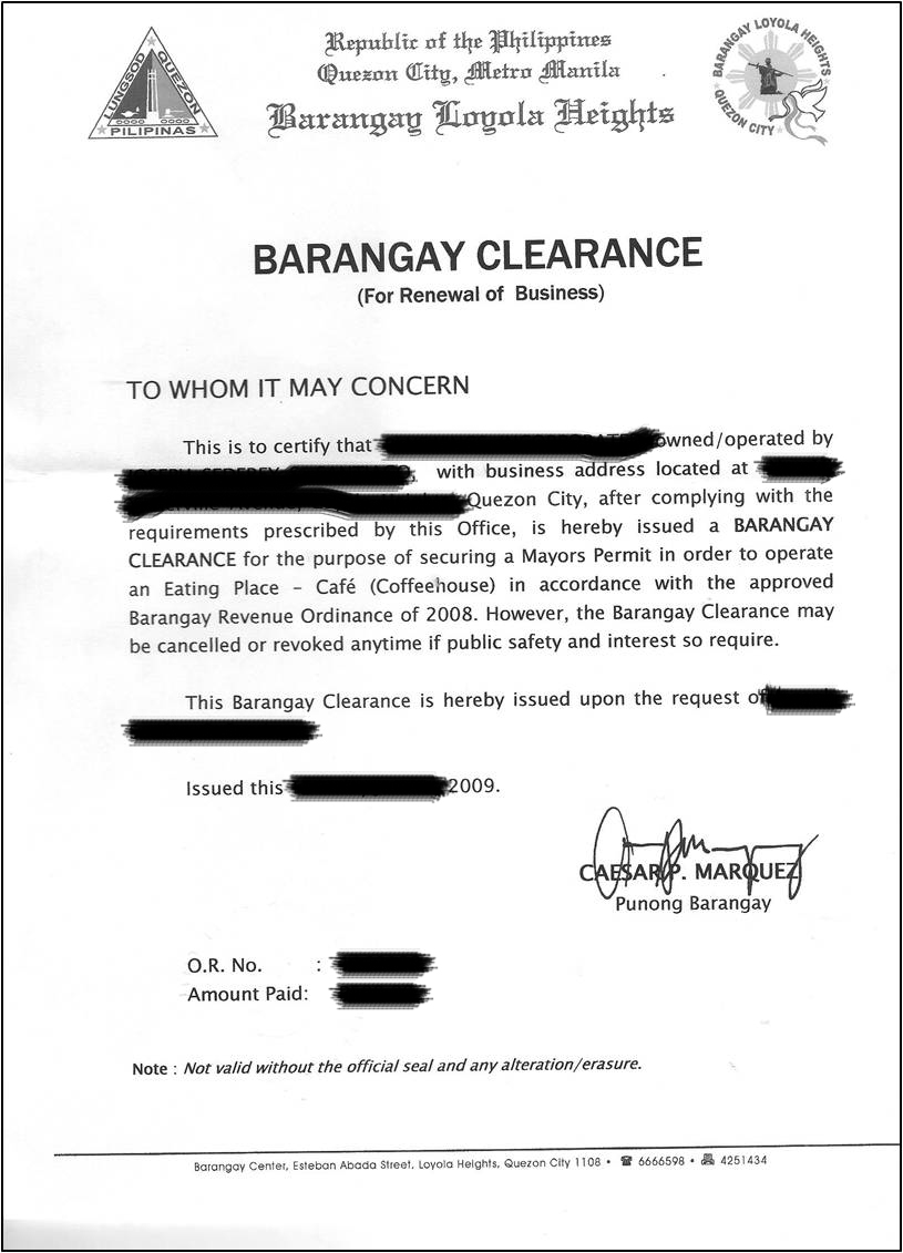Certificate Of Indigency Isued By The Barangay