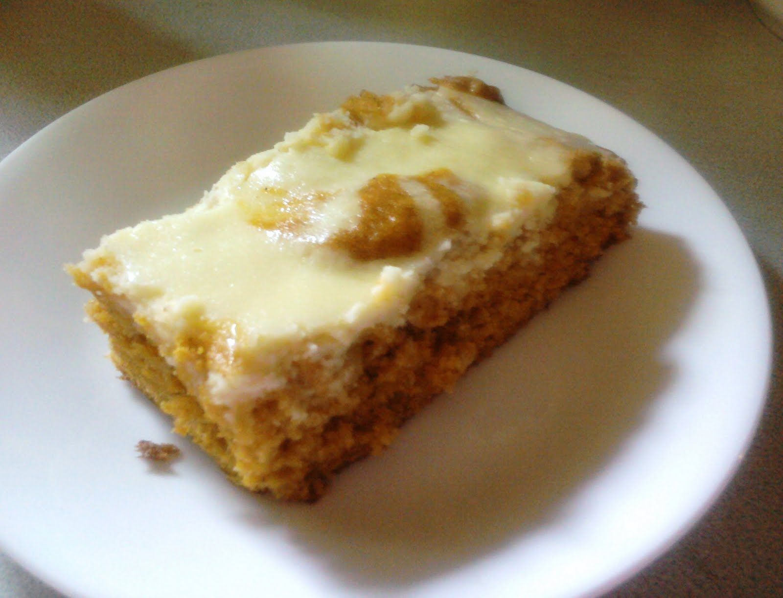 From Mess Hall to Bistro: Pumpkin Cake with Cream Cheese Swirl