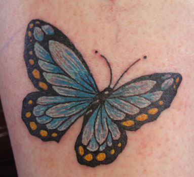 lower back butterfly tattoos. Blue Butterfly tattoo