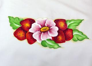 morangos e flor