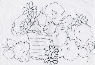 risco cesto de rosas para pintar