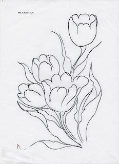 tulipas para pintar em tecido