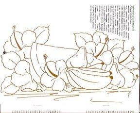 risco de melancia, bananas e hibiscos para pintar