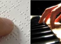 Ilustração mostra na metade esquerda código Braille e na direita teclado de piano