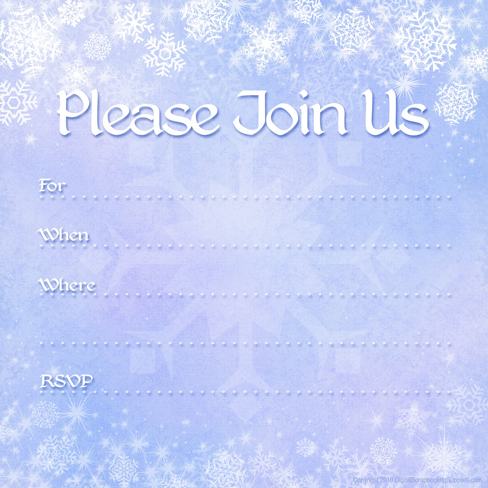 Free printable party invitations free winter holiday invitations for Free holiday invite templates