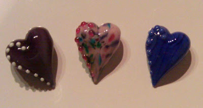 Three heart beads