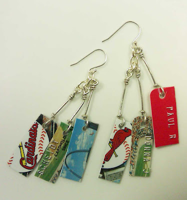 St. Louis Cardinals credit card earrings