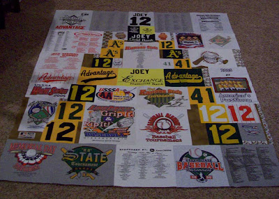 Baseball tee shirt quilt top