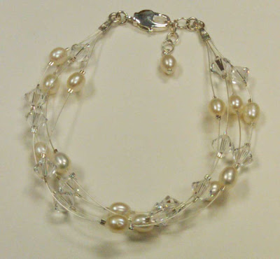 Matching pearl and crystal bracelet
