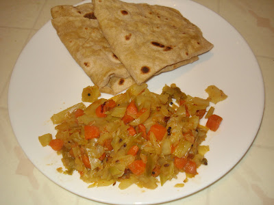 how to make cabbage curry for chapathi