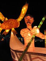 Taiwan Lantern Festival man in canoe