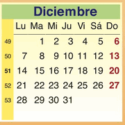 Calendario Diciembre 2009