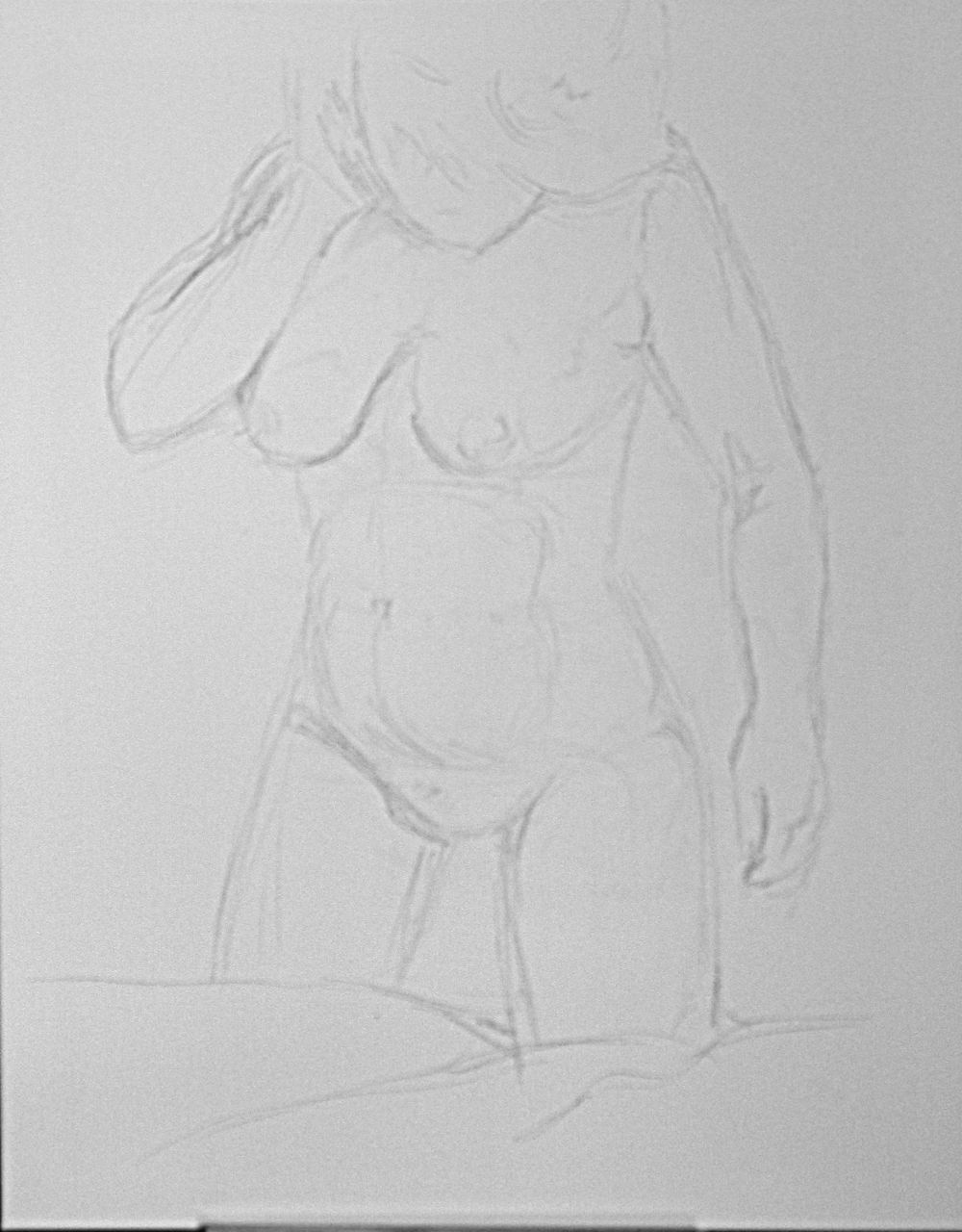 Figurative Nude on Canvas. charcoal sketch