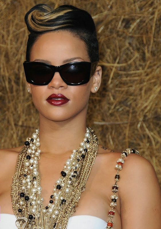 Rihanna wearing Christian Roth vintage sunglass at the Chanel show, Paris fashion week 2009