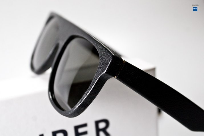 RetroSuperFuture black leather Flat Top sunglasses
