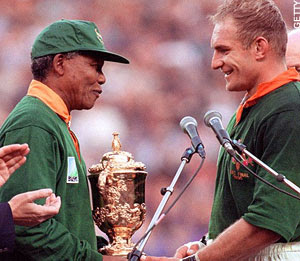 mandela and rugby Mastercard survey of more than 4,000 rugby fans around the world reveals the  tournament's most iconic moments to tweet this news, copy.