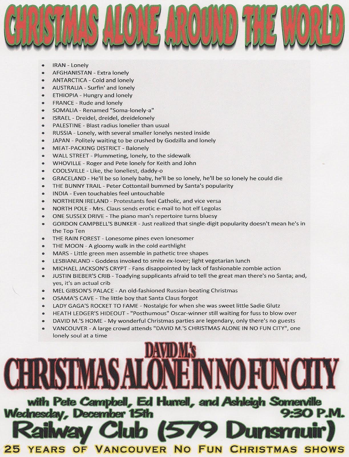Alienated in Vancouver: David M\'s Christmas Alone in No Fun City!