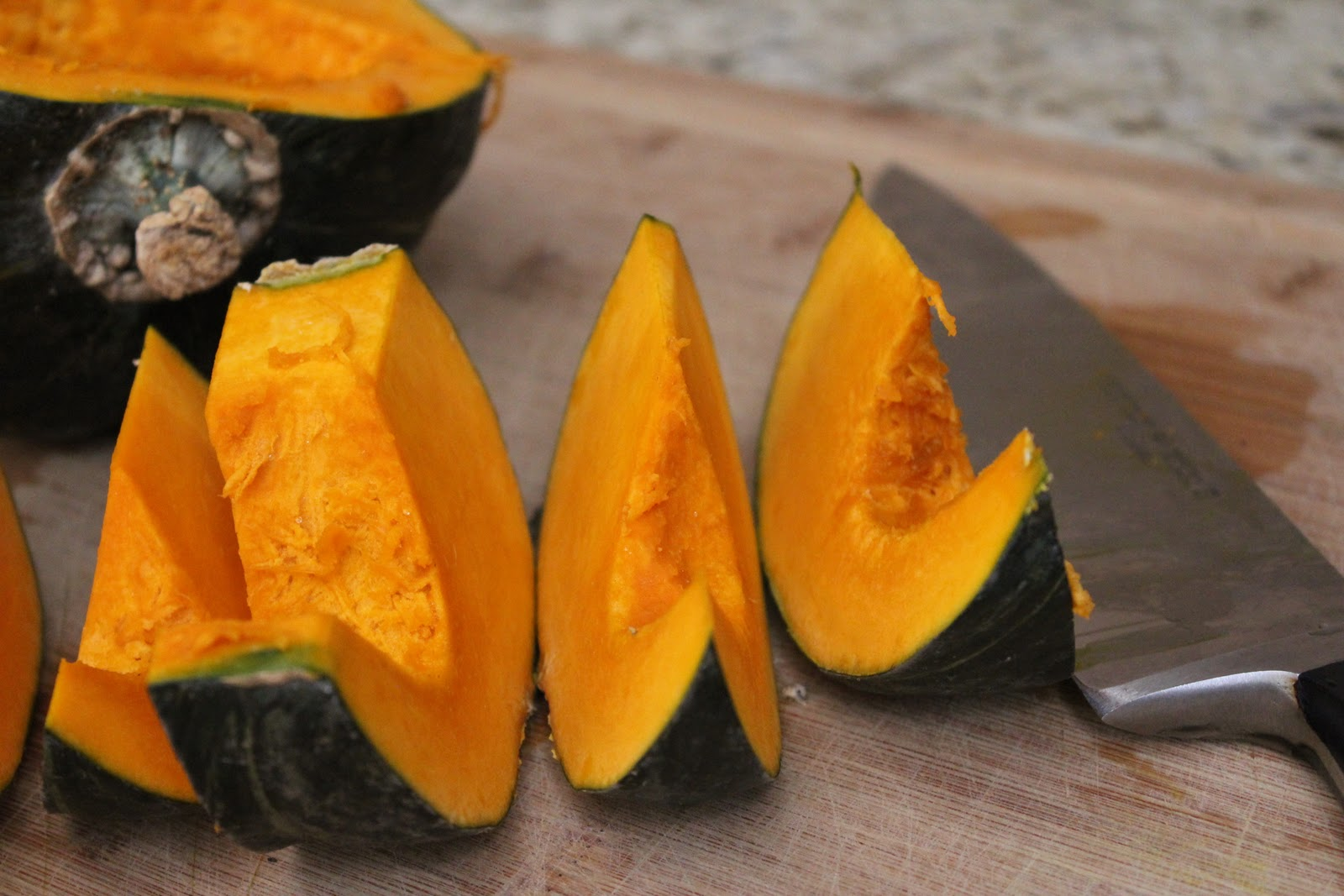 Cut squash into wedges to make peeling easier