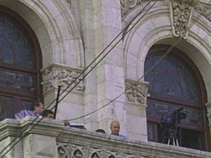 Carlos Flores en el balcon del ayuntamiento de Valladolid