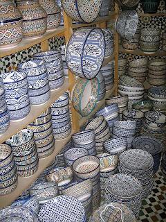 Moroccan Fez blue glazed ceramics