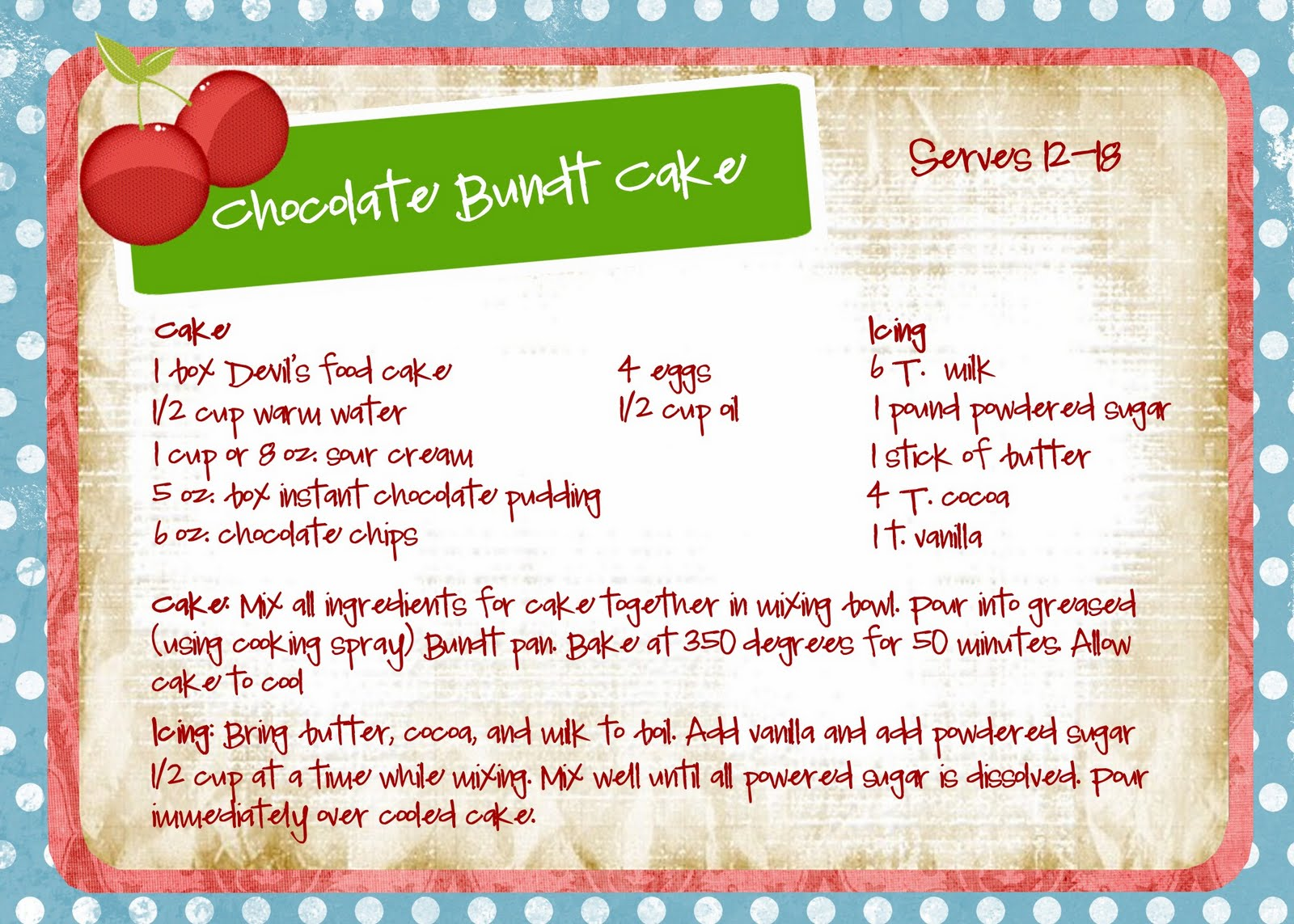 RecipecardChocolateBundtCake - *~* Polling for Cooking Competeion May 2013 *~*