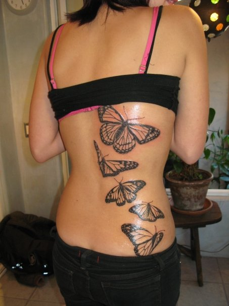 Finished Monarch Butterfly Tattoo Tattoos - Butterfly Tattoos - Back Tattoos