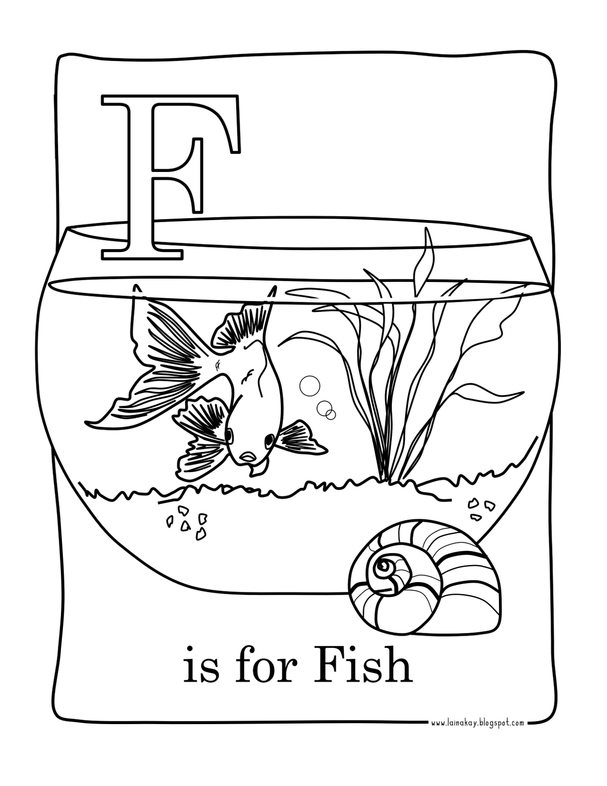 f for fish coloring pages - photo #26