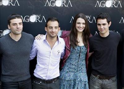 Óscar Isaac, Alejandro Amenábar, Rachel Weisz y Max Minghella en la presentación de Ágora