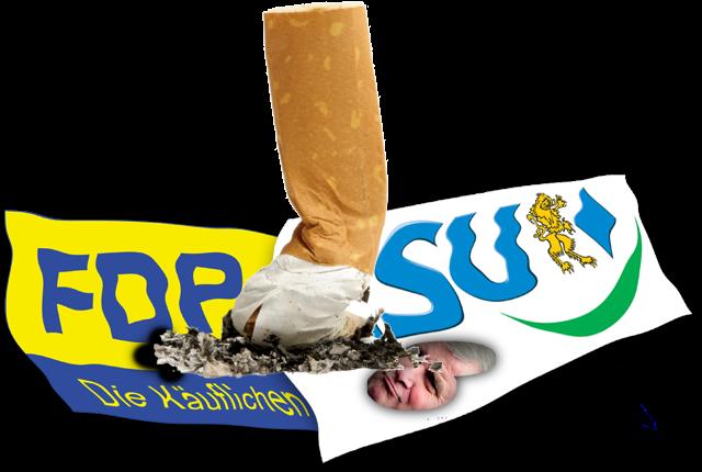 Rote Karte für CSU und FDP beim Volksentscheid zum Nichtraucherschutz
