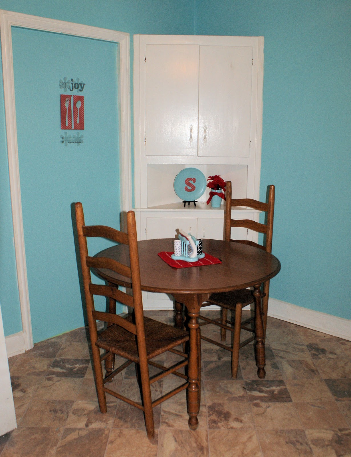 Coley 39 s corner the kitchen light teal with cherries on for Teal kitchen table