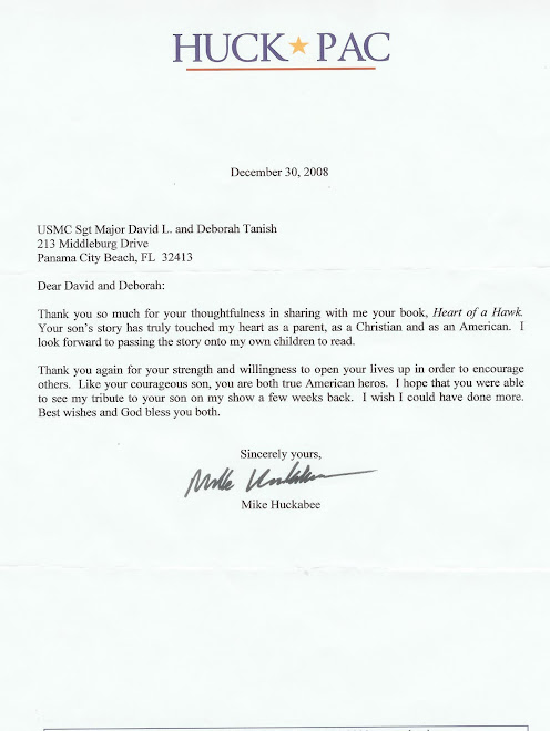 Letter from Mike Huckabee about Heart of a Hawk