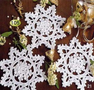 Снежинки, связанные крючком.  Хотите удивить гостей на Новый год.  Это сделать очень легко - украсьте елочку...