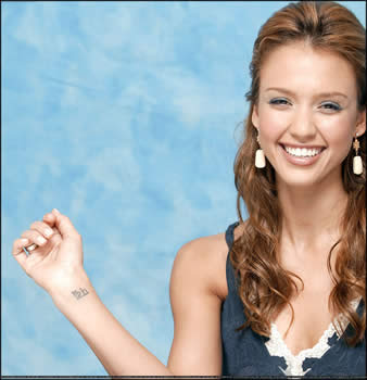 Hand Tattoos on Jessica Alba Hand Wrist Tattoo