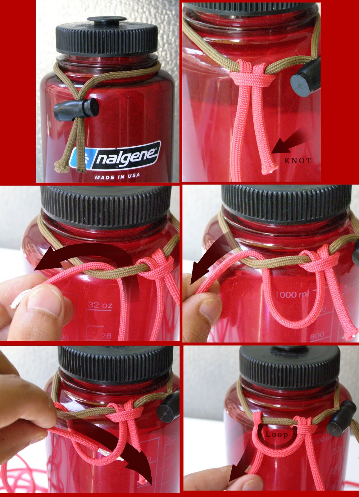 Red vaszi paracord water bottle koozie for Paracord koozie how to make
