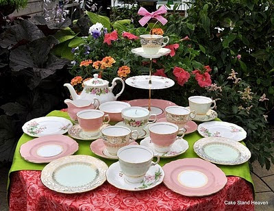 pink mismatched tea set