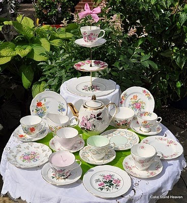 eclectic mismatched china tea set
