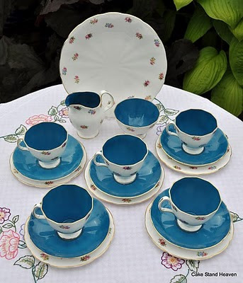 vintage blue floral tea set