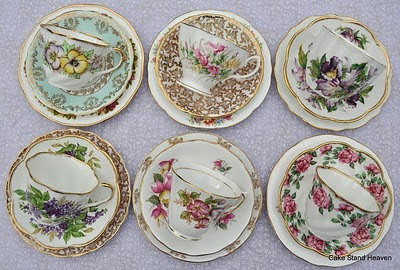 vintage mixed cups saucers and side plates