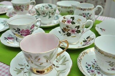English mixed china teacups